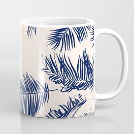 Blue Palm Leaves Pattern Coffee Mug