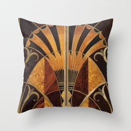 art deco wood Throw Pillow