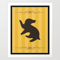 hufflepuff Art Prints featuring Hufflepuff by Winter Graphics