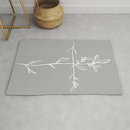 Twig Cross, A Simple Floral White Cross Rug
