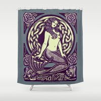 little mermaid Shower Curtains featuring Mermaid by Roberto Jaras Lira