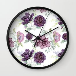 Succulents Deep Violet Lavender Pastel Green Lilac PatternSee Nature Magick for more pretty pastel c Wall Clock