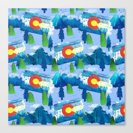 Watercolor Colorado mountains, trees and flag Light Blue Canvas Print