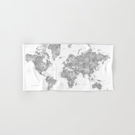 Oh darling, where to next... detailed world map in grayscale watercolor Hand & Bath Towel