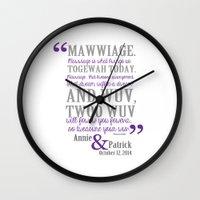 princess bride Wall Clocks featuring custom listing for Wedding Date and names Princess Bride by studiomarshallarts