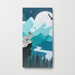 Shining moon on the mountains Metal Print
