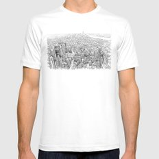 New York White Mens Fitted Tee LARGE