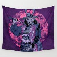 samurai Wall Tapestries featuring Samurai Kitty by MUSENYO
