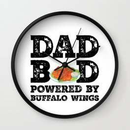 Dad Bod Powered By Buffalo wings Father Figure Gifts Idea with Funny Graphic for Food Lovers Wall Clock