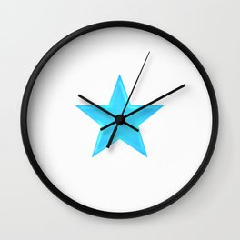 Blue Star on White Wall Clock