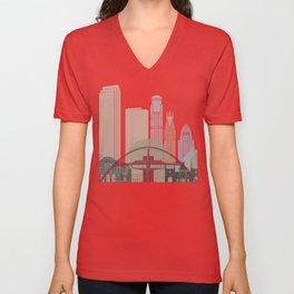 Los Angeles skyline poster Unisex V-Neck