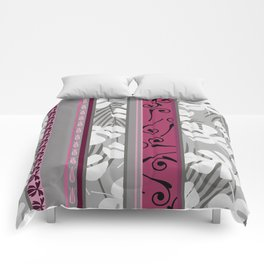 Monstera leaves Stripes pink ornaments Comforters