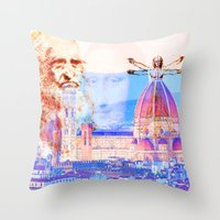 code Throw Pillows featuring Code Leonardo  by Joe Ganech
