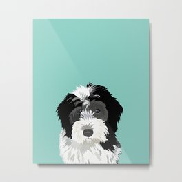 Bernedoodle pet portrait art print and dog gifts Metal Print