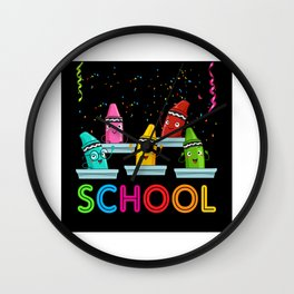 School Pens Gift Idea Design Motif Wall Clock