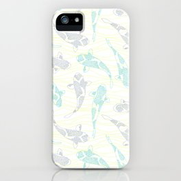 dotted koi shoal and yellow waves iPhone Case