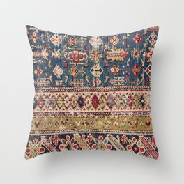 Dusty Blue Green Kuba II 19th Century Authentic Colorful Mustard Bands Vintage Patterns Throw Pillow