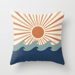Retro, Sun and Wave Art, Blue and Orange Throw Pillow