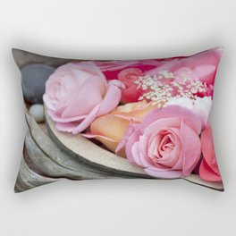 Pink Roses Romantic Still Life Rectangular Pillow