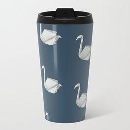 White & blue origami swan pattern Travel Mug