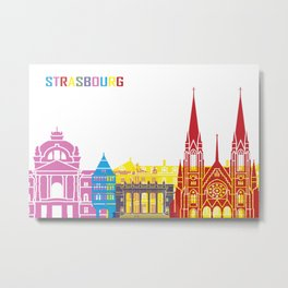 Strasbourg skyline pop Metal Print