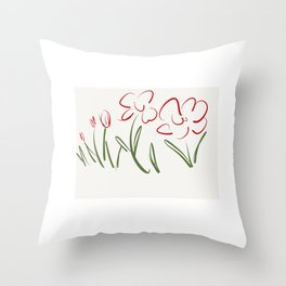 Red Flowers , Red Flower Bursts Throw Pillow