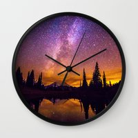 milky way Wall Clocks featuring Milky Way by EclipseLio