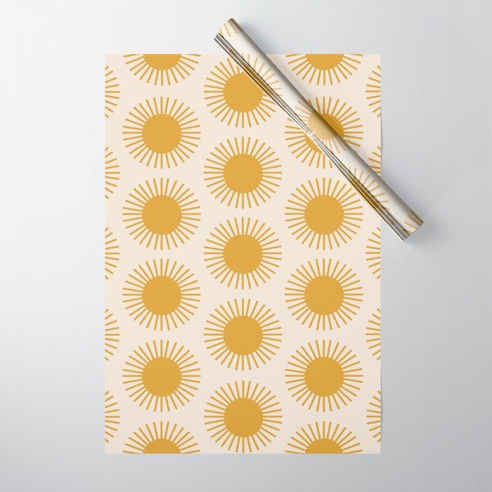 Golden Sun Pattern Wrapping Paper