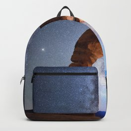 Starry Night Pointer at Milky Way Night sky in Moab Arches National Park  Utah USA  Backpack