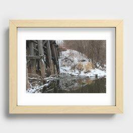 Winter River-Train Bridge Photo  Recessed Framed Print