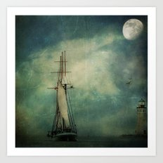 Sail away into the night Art Print