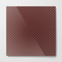 Black and Peach Echo Polka Dots Metal Print