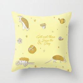 Yellow armadillo pattern Throw Pillow
