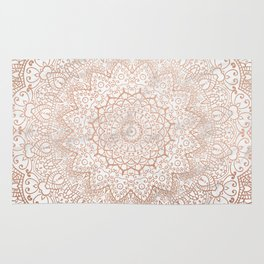 Mandala - rose gold and white marble 3 Rug