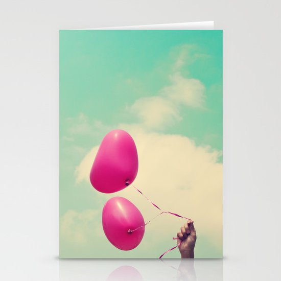 Free Love, Pink Heart Baloons on Retro Green Sky  Stationery Cards