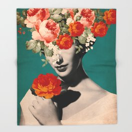 WOMAN WITH FLOWERS Throw Blanket