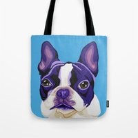 boston terrier Tote Bags featuring Boston Terrier by Blue Giraffe Art Works