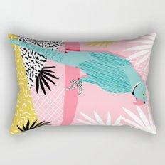 Doin' It - blue india ringneck parrot bird art wacka design animal nature retro throwback neon 1980s Rectangular Pillow