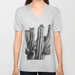 Cactus, Black and White, Desert Wall Art Unisex V-Neck