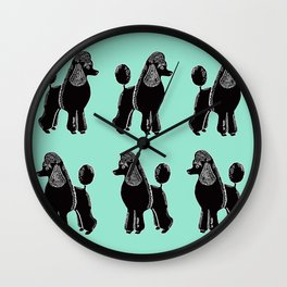 Black Standard Poodles with Mint Wall Clock