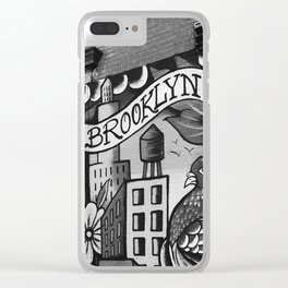 Black and White, Williamsburg Brooklyn Wall Art Clear iPhone Case