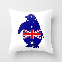 Australian Flag - Penguin Throw Pillow