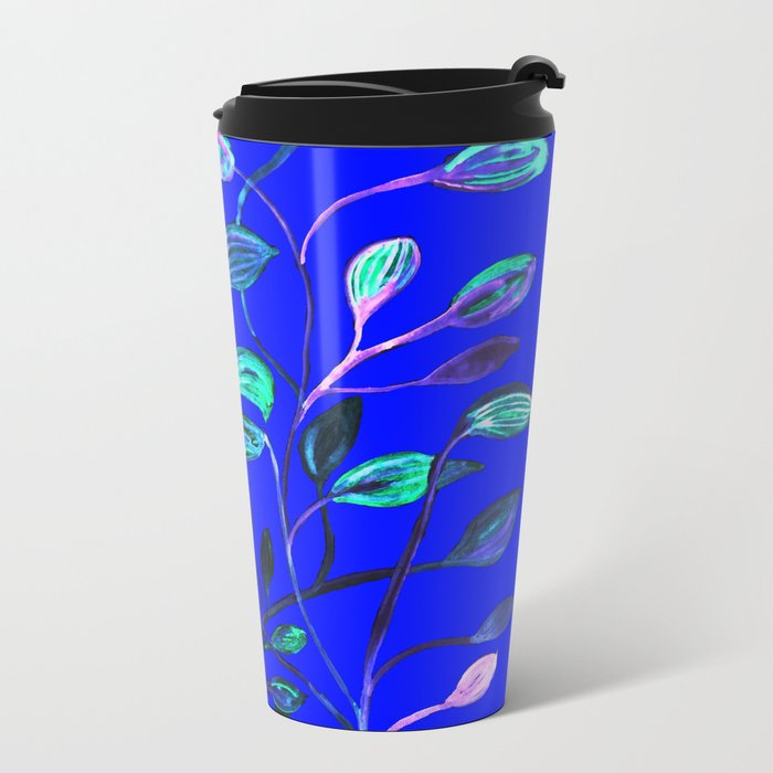 Blue Night's Red and Green Leaves! Metal Travel Mug