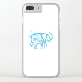 Blue elephat Clear iPhone Case