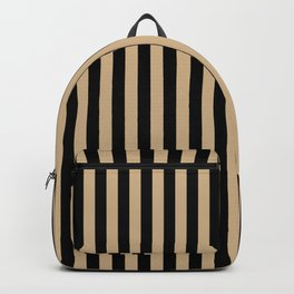 Tan Brown and Black Vertical Stripes Backpack