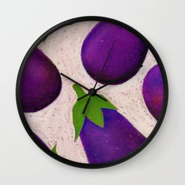 Eggplant Fun Wall Clock