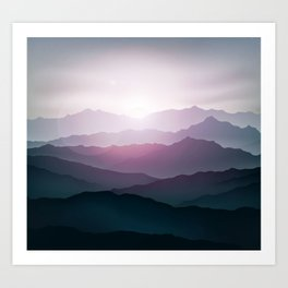 dark blue mountain landscape with fog and a sunrise and sunset Art Print