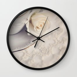 Cream Rose placed on white china plate. Wall Clock