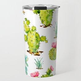 Green Cactus Watercolor Travel Mug