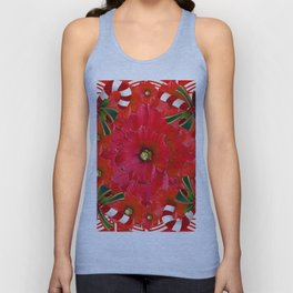 RED HOLIDAYS CANDY CANES & RED  FLOWER ABSTRACT Unisex Tank Top
